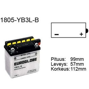 "90-0010 | Euroglobe MP-akku 12V 3Ah ""YB3L-B"" (P99xL57xK111mm)"