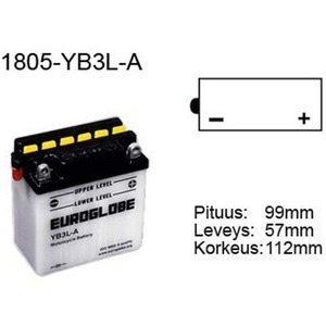 "90-0046 | Euroglobe MP-akku 12V 3Ah ""YB3L-A"" (P99xL57xK111mm)"