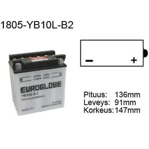 "90-0047 | Euroglobe MP-akku 12V 11Ah ""YB10L-B2"" (P136xL91xK146mm)"