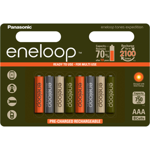 95-00550 | Eneloop Expedition colours esiladattu AAA 750mAh akkuparisto 8kpl